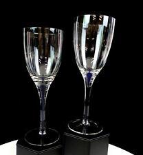 """BOHEMIAN CZECH CRYSTAL COBALT BLUE BUBBLE STEM 2 PIECE 8 1/4"""" WINE GLASSES"""