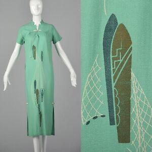 XS 1960s Hawaiian Dress Vintage Tiki Party Linen Short Sleeve 60s Abstract Print