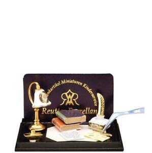 Dollhouse Irish Rose Desk Lamp & Blotter Set 1.875/6 Reutter Miniature