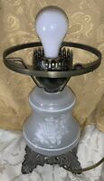 Vintage Gone With The Wind Electric Table Lamp White Rose