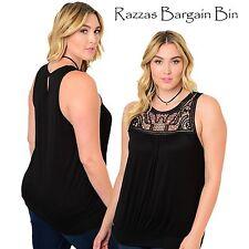 New Ladies Gorgeous Black Singlet Style Top Plus Size 16 1XL (9986)NS