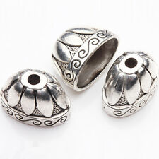5Pcs Tibetan Silver Plated Carved Flower Spacer Bead Caps DIY Jewelry 20*13*12mm