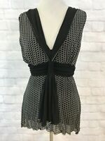 Max Studio Black White Sleeveless Stretch Blouse Top Women's Size Small EUC