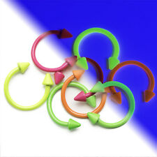 UV Glow 16ga Horseshoe Circular Spike Piercing Barbells - Perfect for Lip, Nose
