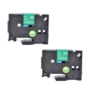 """2PK Compatible Brother TZ-735 TZe-735 White on Green Label Tape Cassette 0.47"""""""