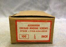 "Vtg NOS 100 Chicago Binding Screws (100) & Posts (100) Aluminum 1/2"" US Military"