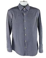 Banana Republic Medium Shirt Checked Long Sleeve Dress Non Iron Slim Fit Blue