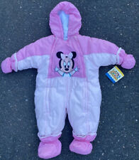 Vintage 90s Nwt Disney Babies One Piece Minnie Mouse Snowsuit Size 6/9 Months