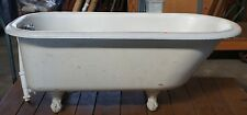 Vintage Roll Rim White Cast Iron Original Clawfoot Bathtub Tub 60""