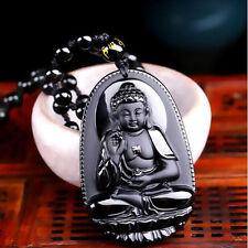 schwarze Obsidian geschnitzte Buddha Anhänger Halskette Unisex Lucky Amulet HQ