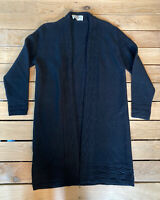 Vintage Ades Of California Women's long sleeve 100% Wool Cardigan sz S black D6