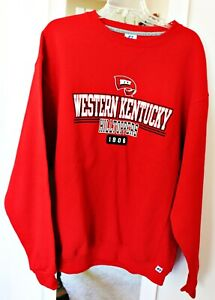 WKU RUSSELL ATHLETIC Red Navy Blue Sweatshirt Western Kentucky NWT L Crew Neck