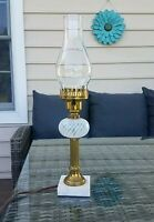 """Vintage lamp with Fenton French Opalescent Swirl Optic, marble base, 19"""""""