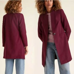 M&S Notch Neck TAILORED 3/4 Length COAT ~ Size 16 ~ BERRY (rrp £59)