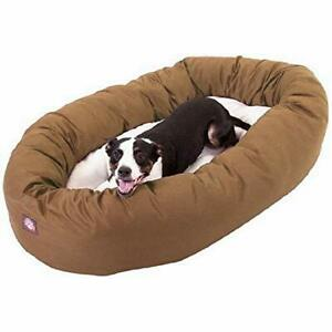 40 inch Khaki & Sherpa Bagel Dog Bed By Majestic Pet Products