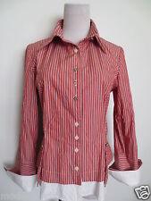 Hemdbluse Bluse BOTTEGA S 36 Streifen ziegelrot weiß TIP TOP/C1