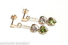 9ct Gold Peridot Heart Drop Earrings Gift Boxed Made in UK