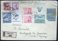 Cover - Ceskoslovensko Air Mail & 1948 Sokol Festival Sticker  Registered  S1012