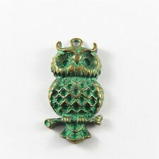 Wholesale 10x Antiqued Green Bronze Alloy Owl Shaped Charms Pendants Findings