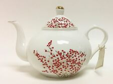 NEW NICOLE MILLER WHITE+RED FLORAL,GOLD TRIM TEA+COFFEE POT,TEAPOT 7 CUPS