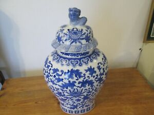 Chinese blue and white ginger jar with lid -very nice condition.