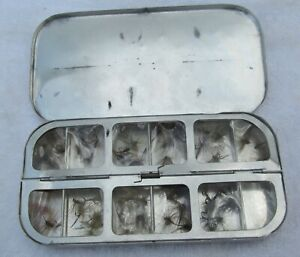 Peerless 12 Compartment Aluminum Spring Loaded Fly Fishing Box with Many Flies