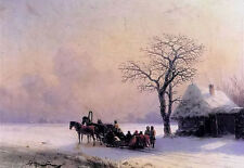 Oil painting aivazovsky - Villagers on the Horse drawn Sleigh in winter scene @@