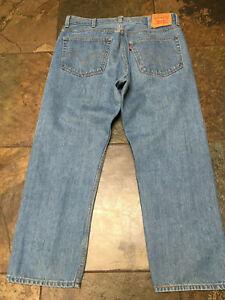 "Levi's  #505 Size 38 x 28.5"" Inseam Regular Fit Dark Denim Straight Leg B"