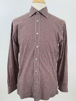 Hickey Freeman Mens Size Medium Button Front Shirt Long Sleeve Plaid Red