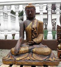 Buddha Steinfigur Gold Gartenfigur Skulptur Statue Glaube Steinkunst BLACKFORM