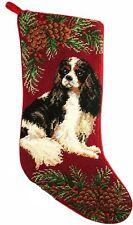 "Tri Color Cavalier King Charles Spaniel Dog Christmas Needlepoint Stocking - 11"""