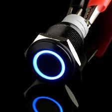 16mm schwarzer Fall 12V blauer Engels-Augen-Metall-LED-Druckknopf-Schalter-Auto