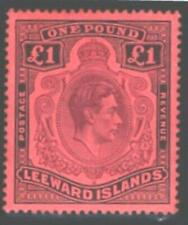 LEEWARD ISLAND 1938.£1. BROWN-PURPLE & BLACK/RED.MOUNTED MINT.SG#114.