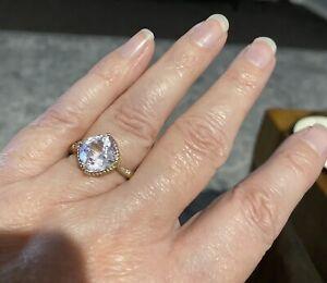 5.50ct Cushion Cut Kunzite & Diamond Ring 9ct Yellow Gold