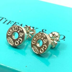Tiffany & Co. Silver 925 Small 1837 Circle Round Stud Earrings Cleaned Box Set