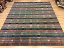 Modern Grey & Multi Colour Striped Handwoven Wool Rug Large XXL 243x306cm 60%OFF