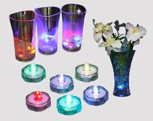 6x Farbwechsel RGB Tauch LED Teelichter wasserdichte Unterwasser Kerzenleuchten