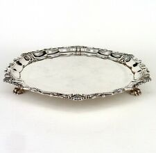 SILVER TRAY CIRCULAR ART NOUVEAU FORM WITH GADROON BORDER