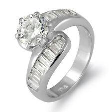 Baguette Round Solitaire Bridal Engagement Cubic Zirconia Ring 925 Silver SZ 7.5