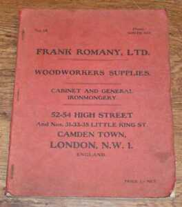 Architecture: Frank Romany Ltd Supply Catalogue No 14. Woodworkers Supplies 1910