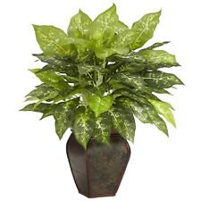 Nearly Natural Artificial Dieffenbachia Silk Plant With Decorative Vase 23in