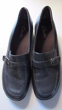 Clarks Women's Brown Leather Loafers Slip On Casual Career with Buckle Size 8.5