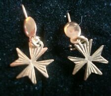 Pair of Vintage 9ct gold Maltese Cross Dangly Earrings