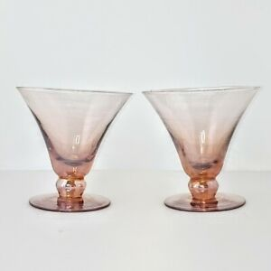 Hand Blown Cocktail Glass Iridescent Amber/Rose Made In Mexico Barware Set of 2