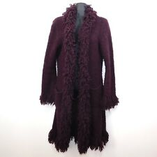 Halukoko Womens Purple Lagenlook Boho Hippie Loop Yarn Shaggy Cardigan, Medium