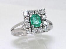 Smaragd Ring 750 Weißgold 18Kt Gold natürlicher Smaragd 12 Brillanten