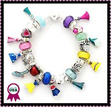 Disney Princess Dresses European Charm Bracelet 25 Charms with Jewelry Pouch New