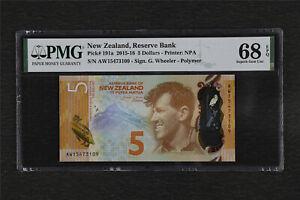 2015-16 New Zealand Reserve Bank 5 Dollars Pick#191a PMG 68 EPQ Gem UNC
