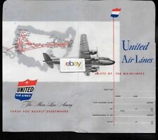 UNITED AIR LINES 1950 TICKET JACKET DC-6 ROUTE OF THE MAINLINERS ROUTE MAP