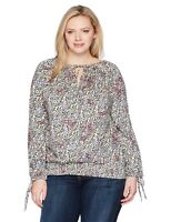 Lucky Brand Peasant Top Womens Plus 2x Cream Floral Long Sleeve Smocked NWT $60